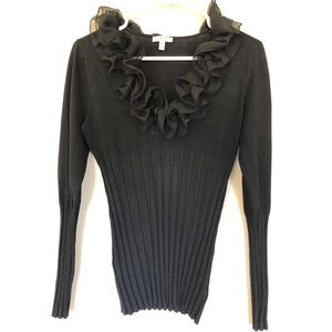 Cache black sweater with sheer ruffle